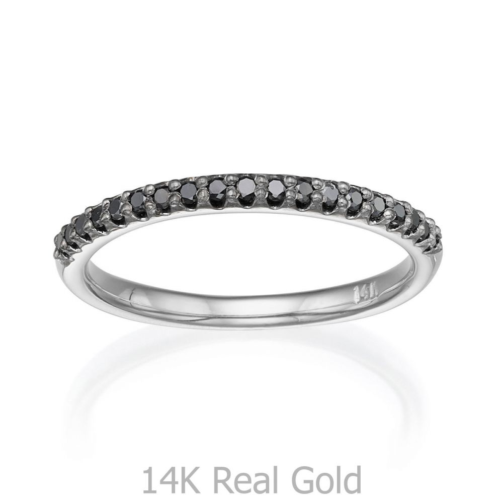 תכשיטי יהלומים | טבעת יהלום שחור מזהב לבן 14 קראט - נסיכת הקרח