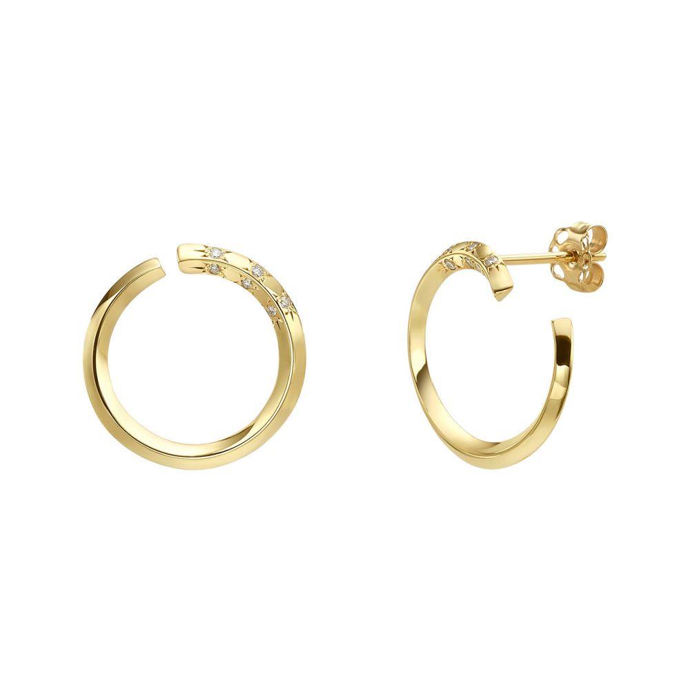 תכשיטי יהלומים | עגילי יהלום צמודים מזהב צהוב 14 קראט - סאנרייז