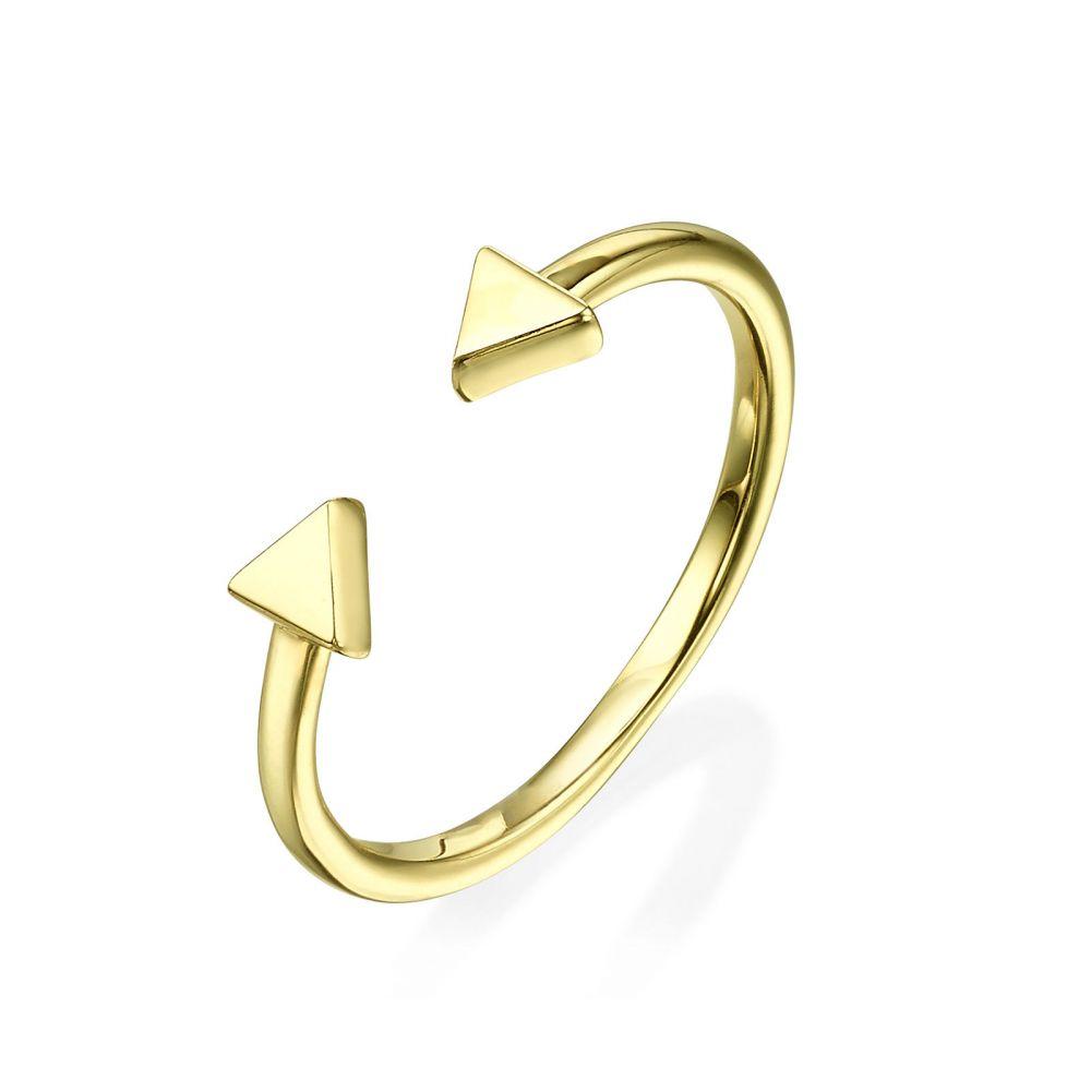 תכשיטי זהב לנשים | טבעת פתוחה מזהב צהוב 14 קראט - משולשים