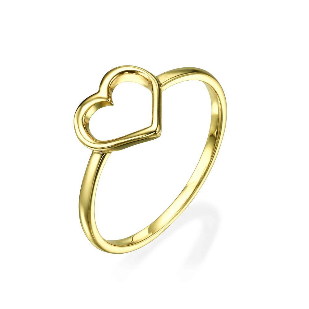 תכשיטי זהב לנשים | טבעת מזהב צהוב 14 קראט - לב