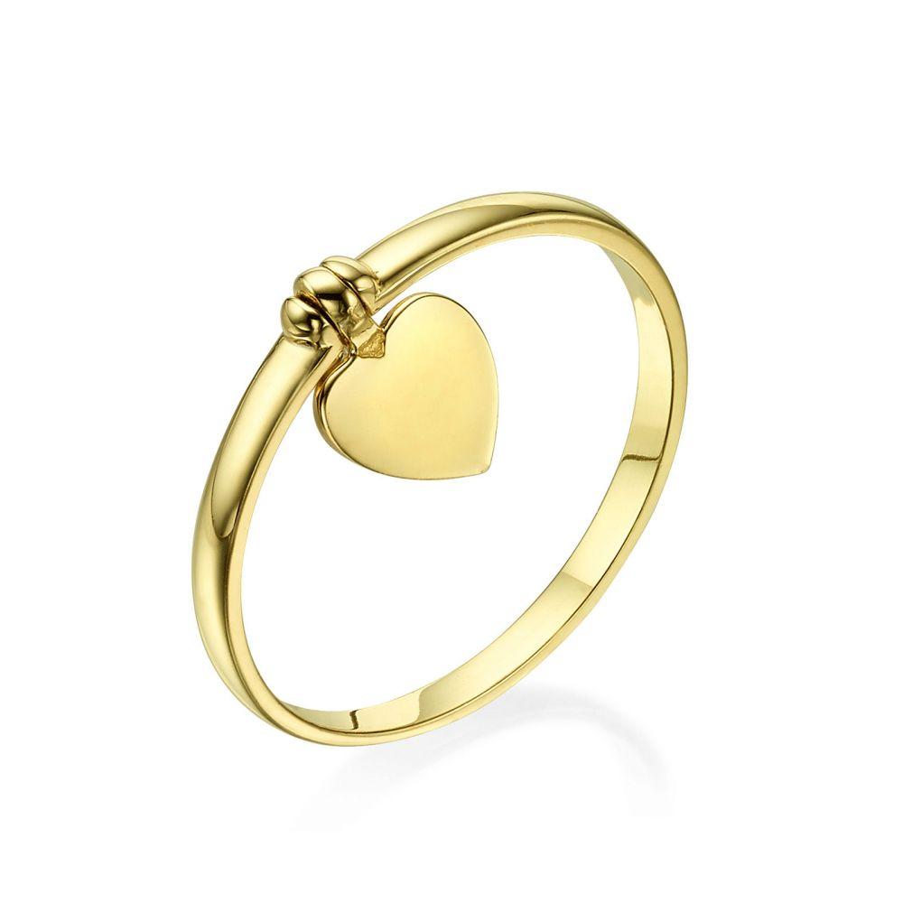 תכשיטי זהב לנשים   טבעת עם צ'ארם מזהב צהוב 14 קראט - צ'ארם לב
