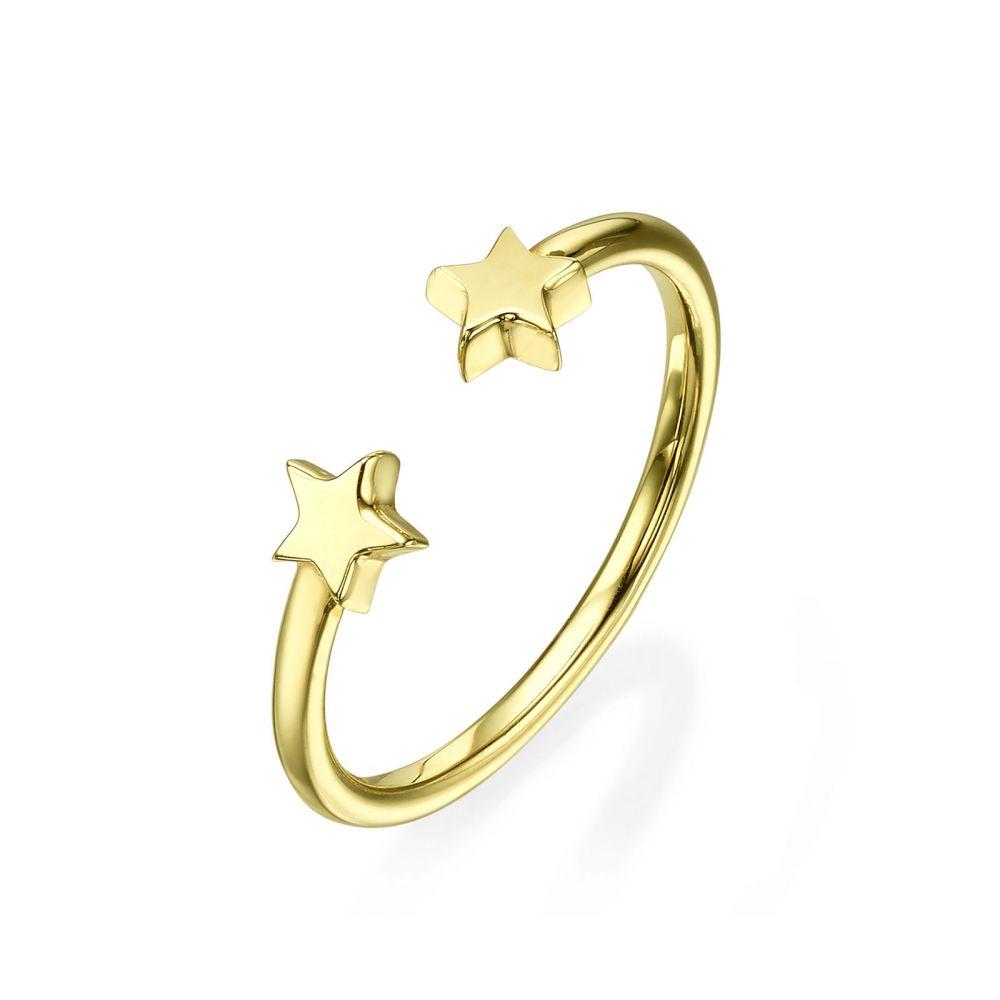 תכשיטי זהב לנשים | טבעת פתוחה מזהב צהוב 14 קראט - כוכבים