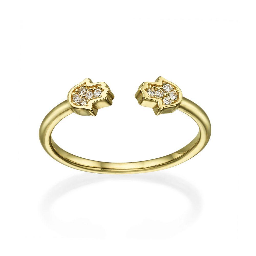 תכשיטי זהב לנשים | טבעת פתוחה מזהב צהוב 14 קראט - חמסות נוצצות