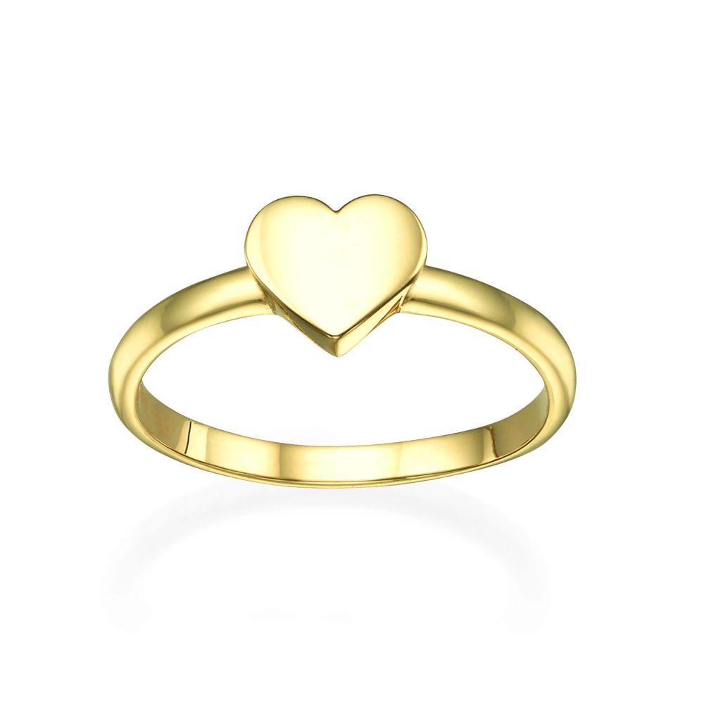 תכשיטי זהב לנשים | טבעת מזהב צהוב 14 קראט - לב מלא