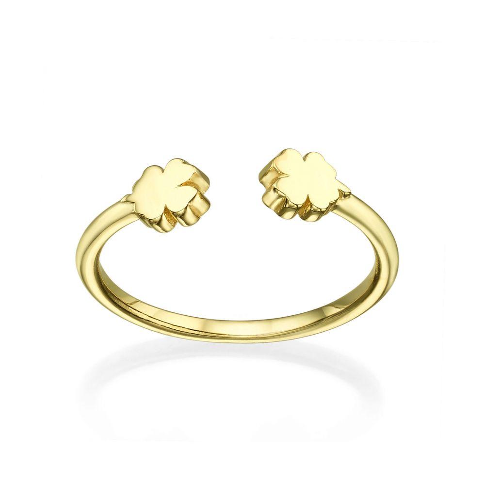 תכשיטי זהב לנשים | טבעת פתוחה מזהב צהוב 14 קראט - תלתנים