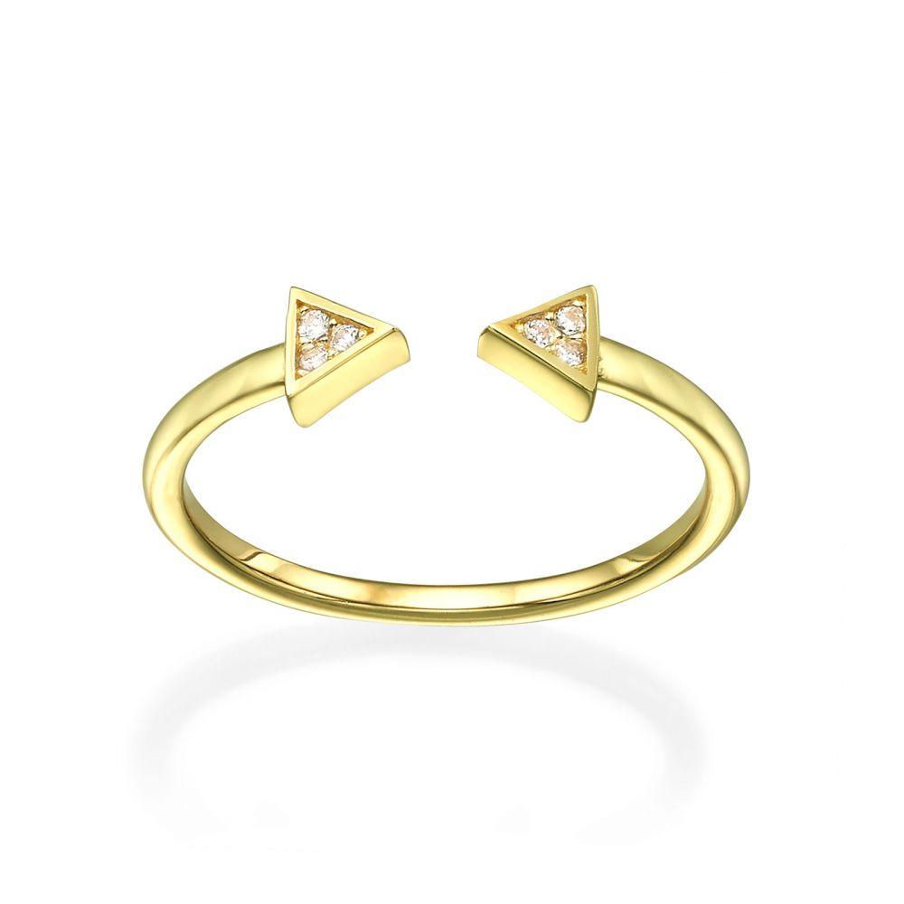 תכשיטי זהב לנשים | טבעת פתוחה מזהב צהוב 14 קראט - משולשים נוצצים