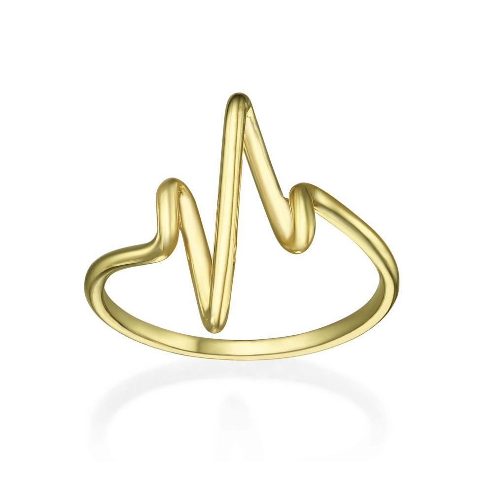 תכשיטי זהב לנשים   טבעת מזהב צהוב 14 קראט - קרדיוגרם