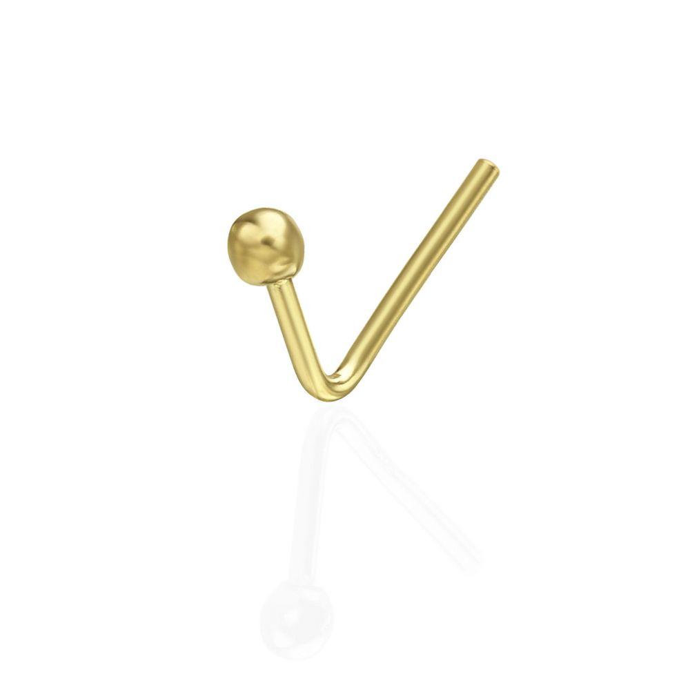 פירסינג | פירסינג מזהב צהוב 14 קראט - נזם לאף כדור זהב