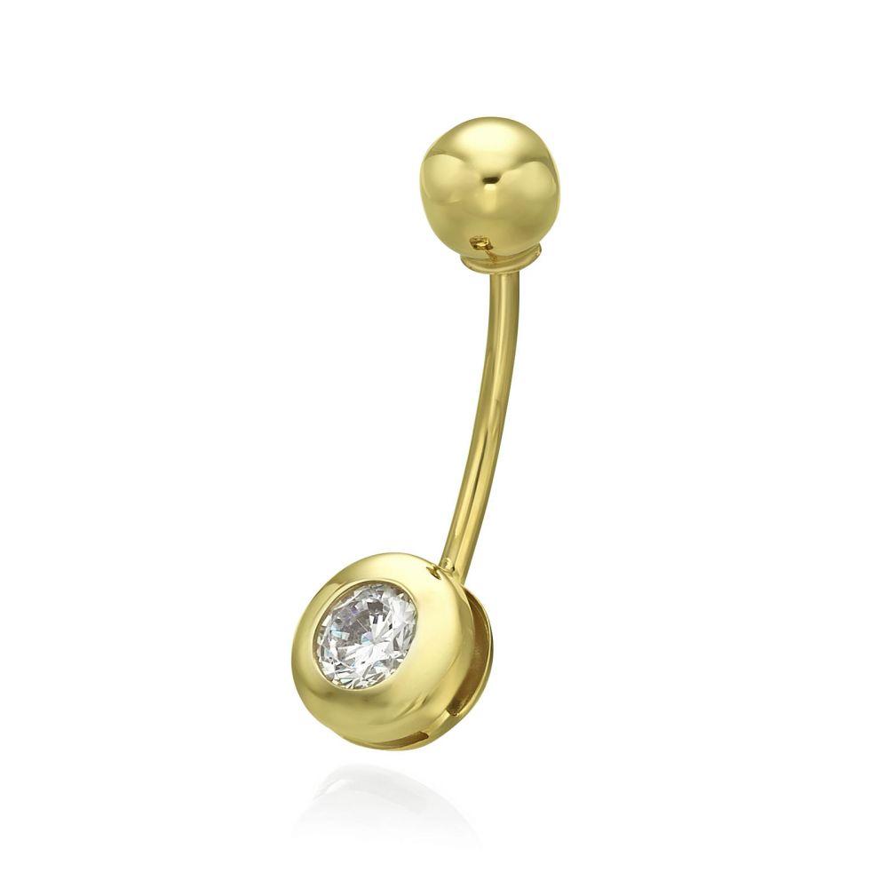 פירסינג | פירסינג לטבור מזהב צהוב 14 קראט - כדור זהב וזירקון