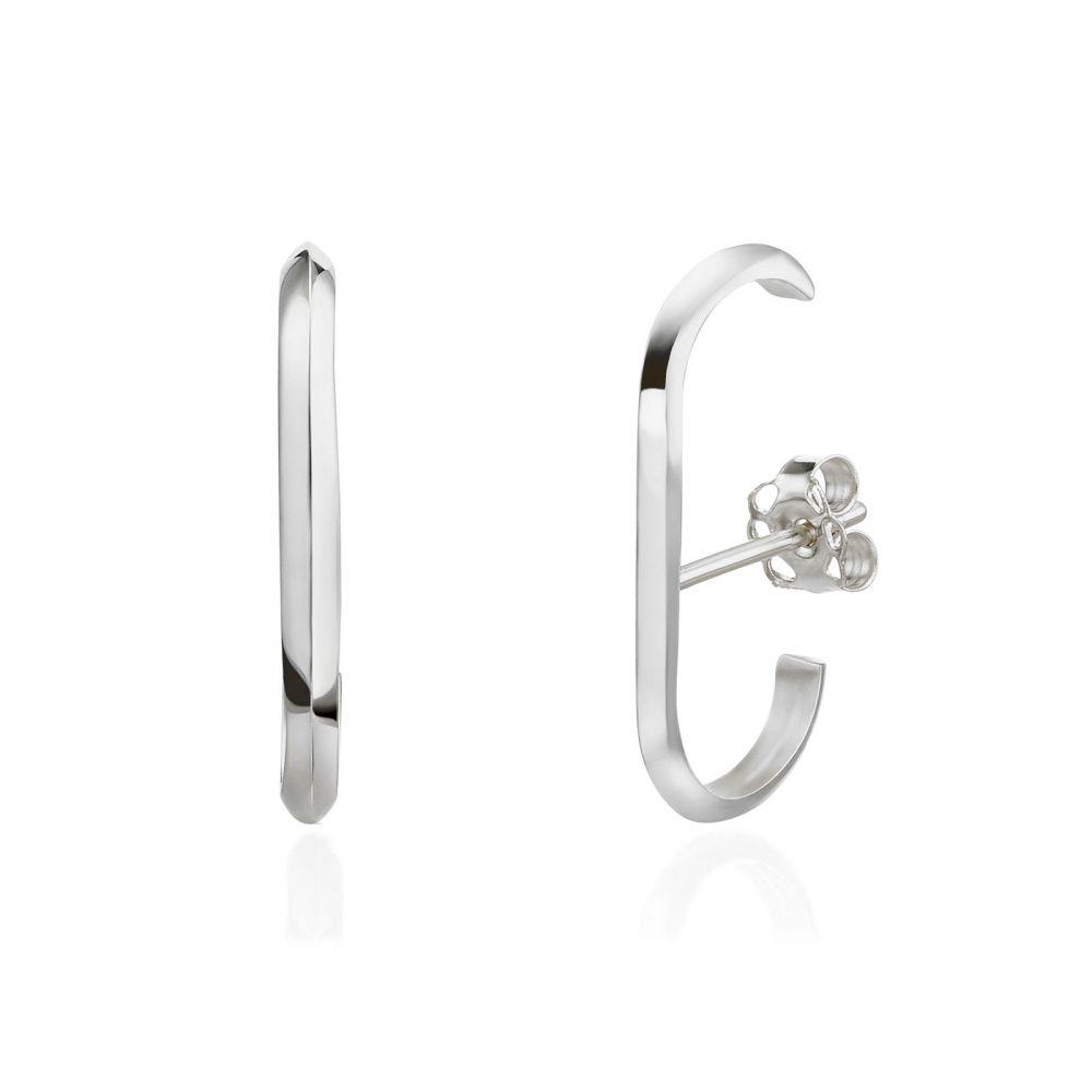 תכשיטי זהב לנשים   עגילים חובקים מזהב לבן 14 קראט - טוויסט