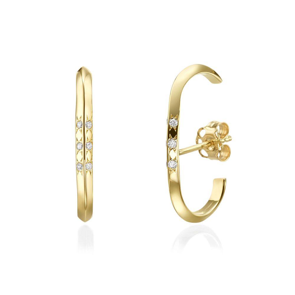 תכשיטי יהלומים | עגילי יהלום חובקים מזהב צהוב 14 קראט - טוויסט