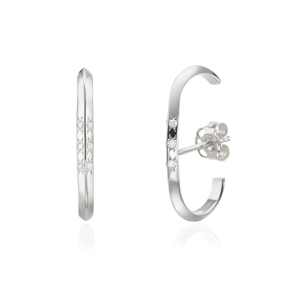 תכשיטי יהלומים | עגילי יהלום חובקים מזהב לבן 14 קראט - טוויסט