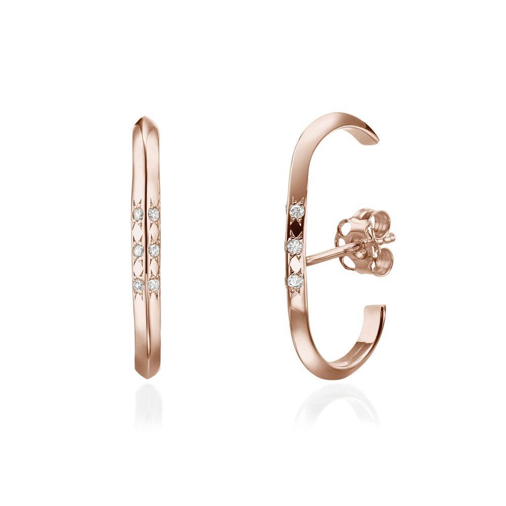 תכשיטי יהלומים | עגילי יהלום חובקים מזהב ורוד 14 קראט - טוויסט