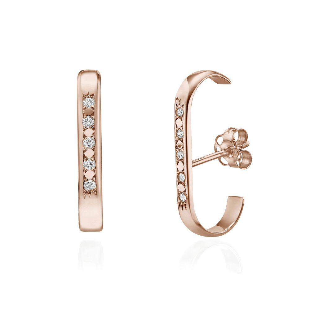 תכשיטי יהלומים | עגילי יהלום חובקים מזהב ורוד 14 קראט - היי-פייב