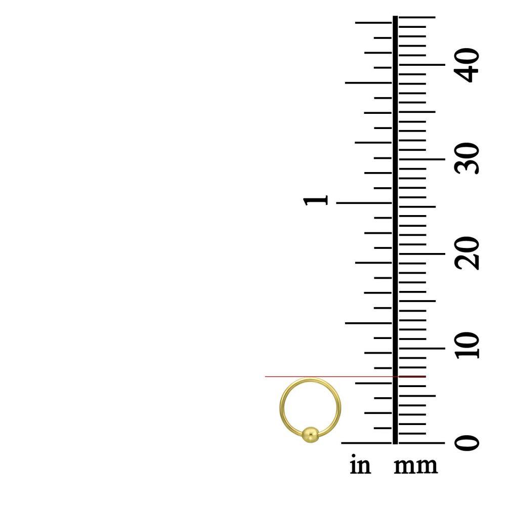 פירסינג | פירסינג לאוזן / לאף מזהב צהוב 14 קראט - חישוק קטן עם כדור זהב