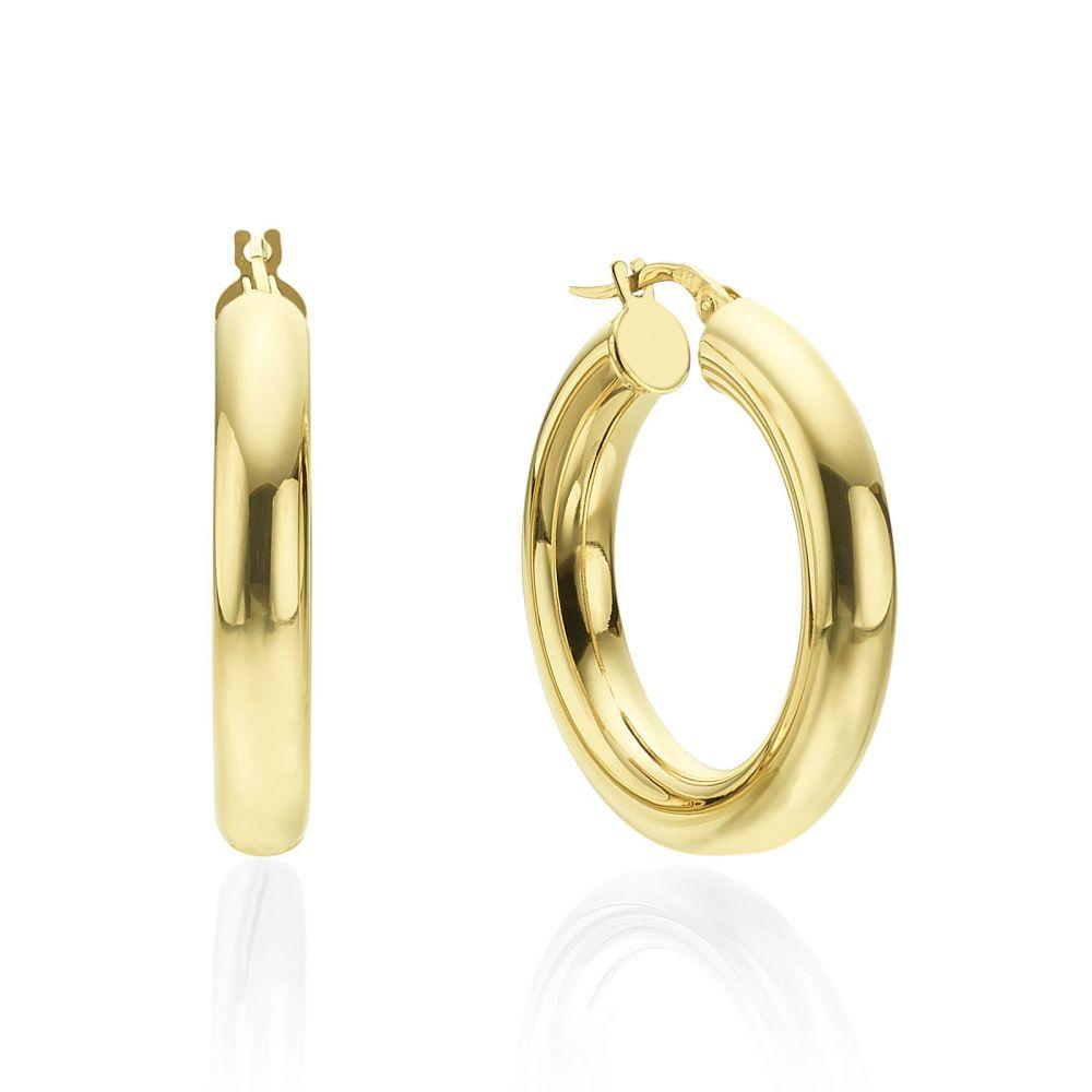 תכשיטי זהב לנשים | עגילי חישוק מזהב צהוב 14 קראט - M (עבה)