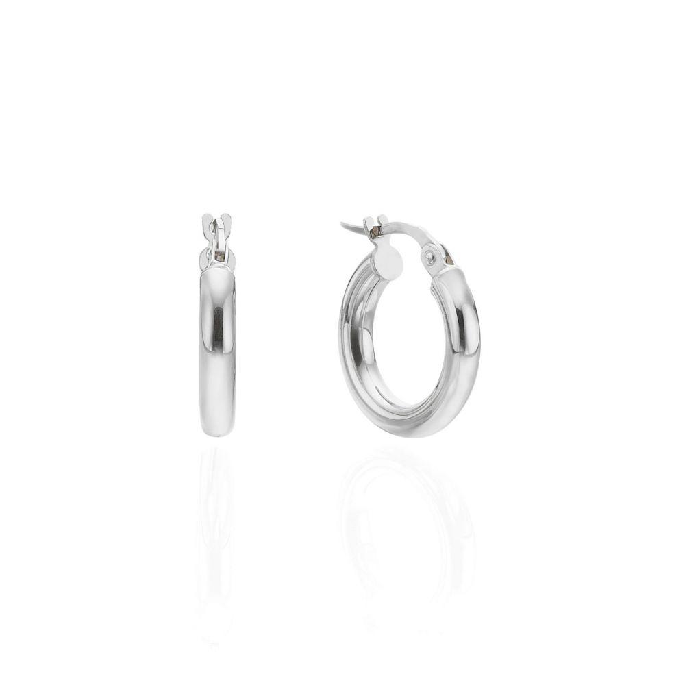 תכשיטי זהב לנשים | עגילי חישוק מזהב לבן 14 קראט - S