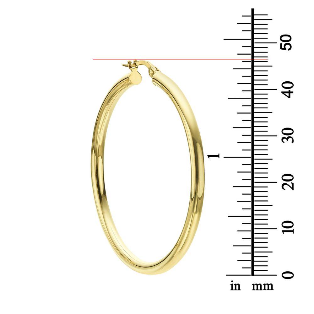 תכשיטי זהב לנשים | עגילי חישוק מזהב לבן 14 קראט - XL