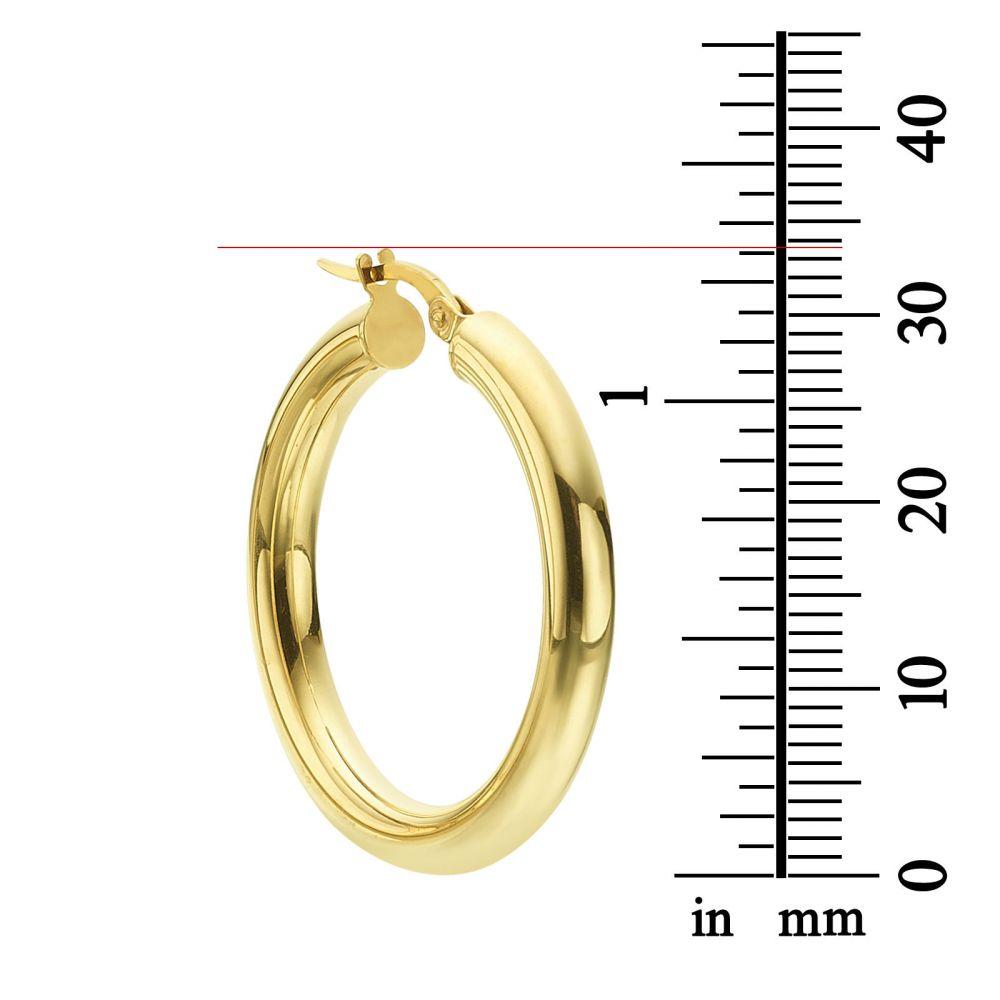 תכשיטי זהב לנשים | עגילי חישוק מזהב צהוב 14 קראט - L