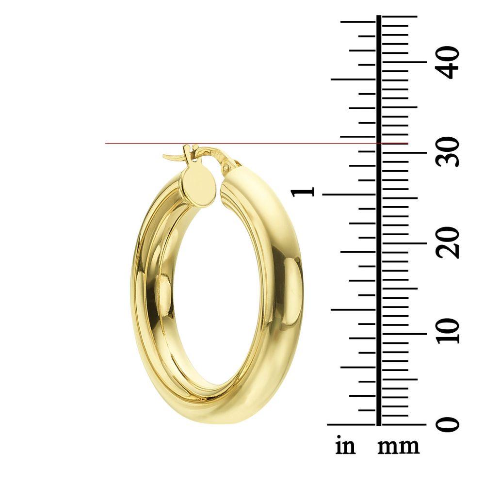 תכשיטי זהב לנשים | עגילי חישוק מזהב לבן 14 קראט - M (עבה)