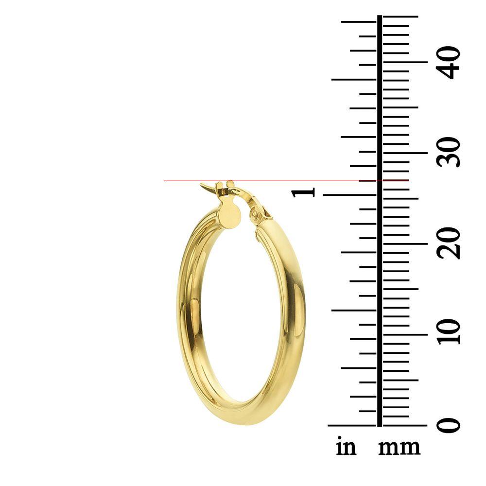 תכשיטי זהב לנשים | עגילי חישוק מזהב צהוב 14 קראט - M (דק)