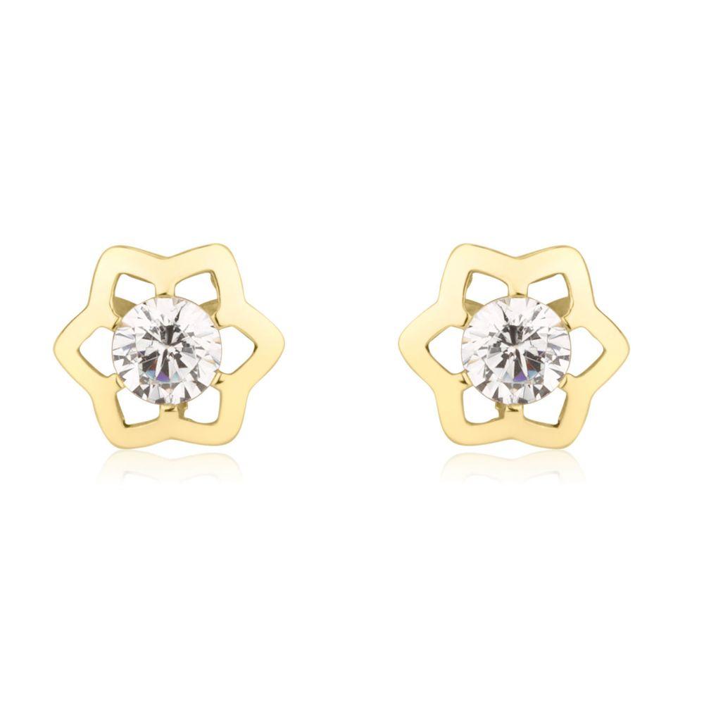 תכשיטים מזהב לילדות | עגילים צמודים מזהב צהוב 14 קראט - כוכב יוקרתי