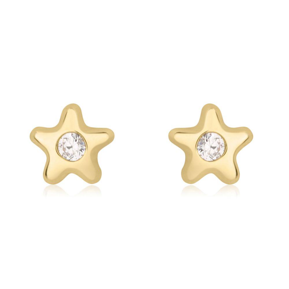 תכשיטים מזהב לילדות | עגילים צמודים מזהב צהוב 14 קראט - כוכב נילי