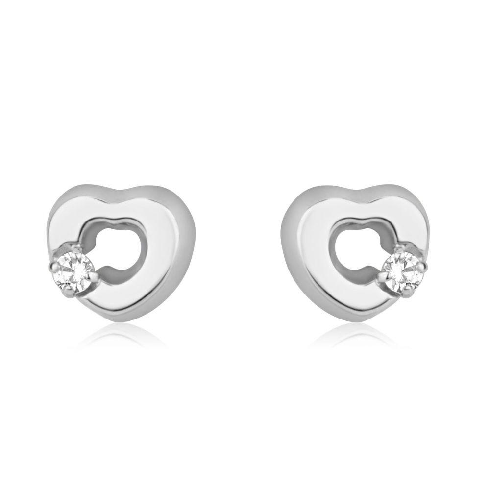 תכשיטים מזהב לילדות | עגילים צמודים מזהב לבן 14 קראט - לב סימפוניה