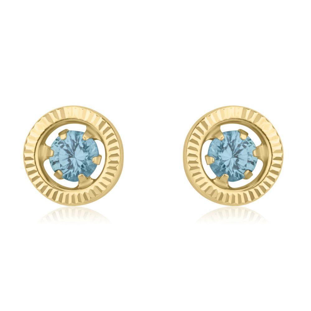 תכשיטים מזהב לילדות | עגילים צמודים מזהב צהוב 14 קראט - עיגול טופזית