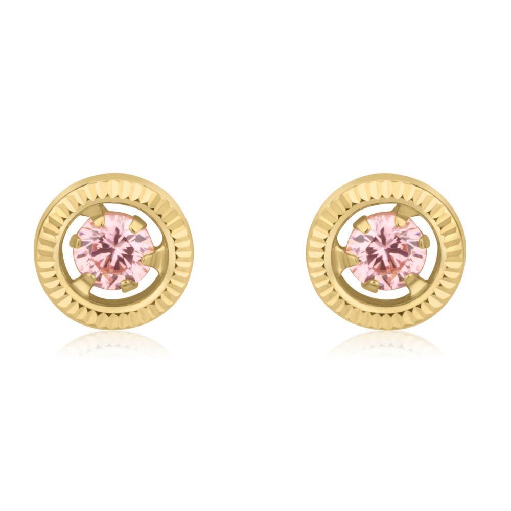 תכשיטים מזהב לילדות | עגילים צמודים מזהב צהוב 14 קראט - עיגול שייני