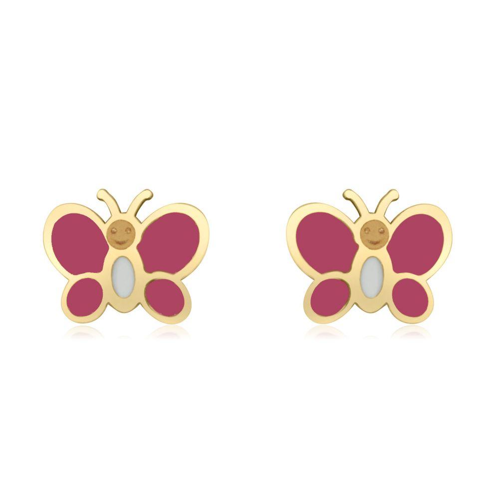 תכשיטים מזהב לילדות | עגילים צמודים מזהב צהוב 14 קראט - פרפר אופטימי