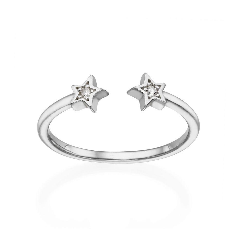 תכשיטי זהב לנשים | טבעת פתוחה מזהב לבן 14 קראט - כוכבים נוצצים