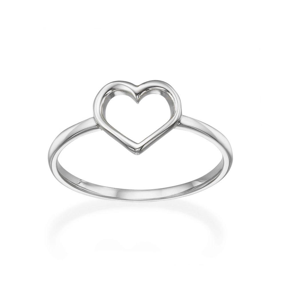 תכשיטי זהב לנשים   טבעת מזהב לבן 14 קראט - לב