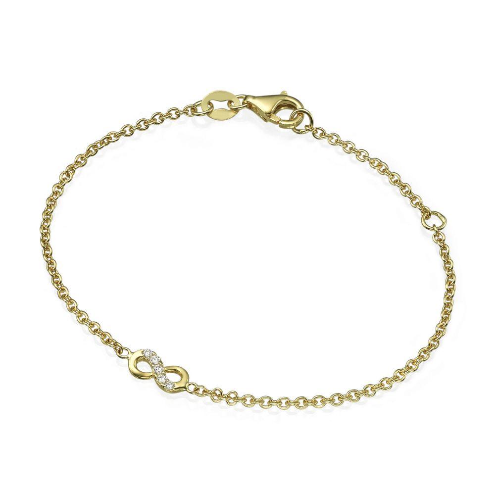 תכשיטים מזהב לילדות | צמיד לילדה מזהב צהוב 14 קראט - אינפיניטי חצי משובץ