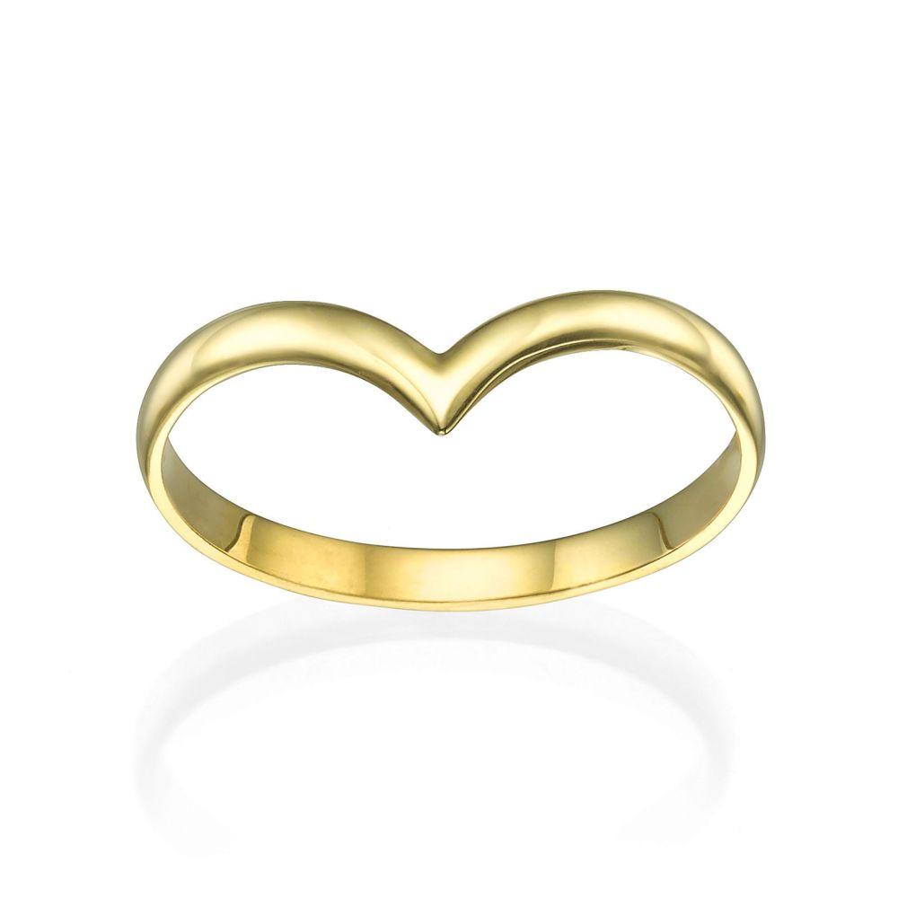 תכשיטי זהב לנשים | טבעת מזהב צהוב 14 קראט - וי עדין