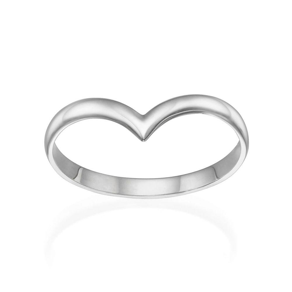 תכשיטי זהב לנשים   טבעת מזהב לבן 14 קראט - וי עדין