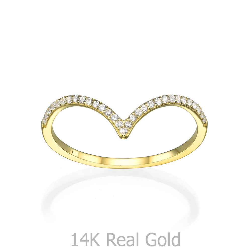 תכשיטי זהב לנשים | טבעת מזהב צהוב 14 קראט - וי גדול עם זירקונים