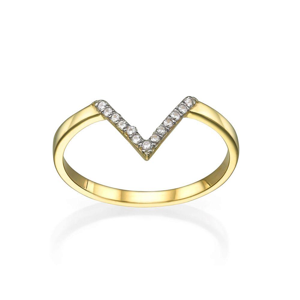 תכשיטי זהב לנשים | טבעת מזהב צהוב 14 קראט - וי קטן עם זירקונים