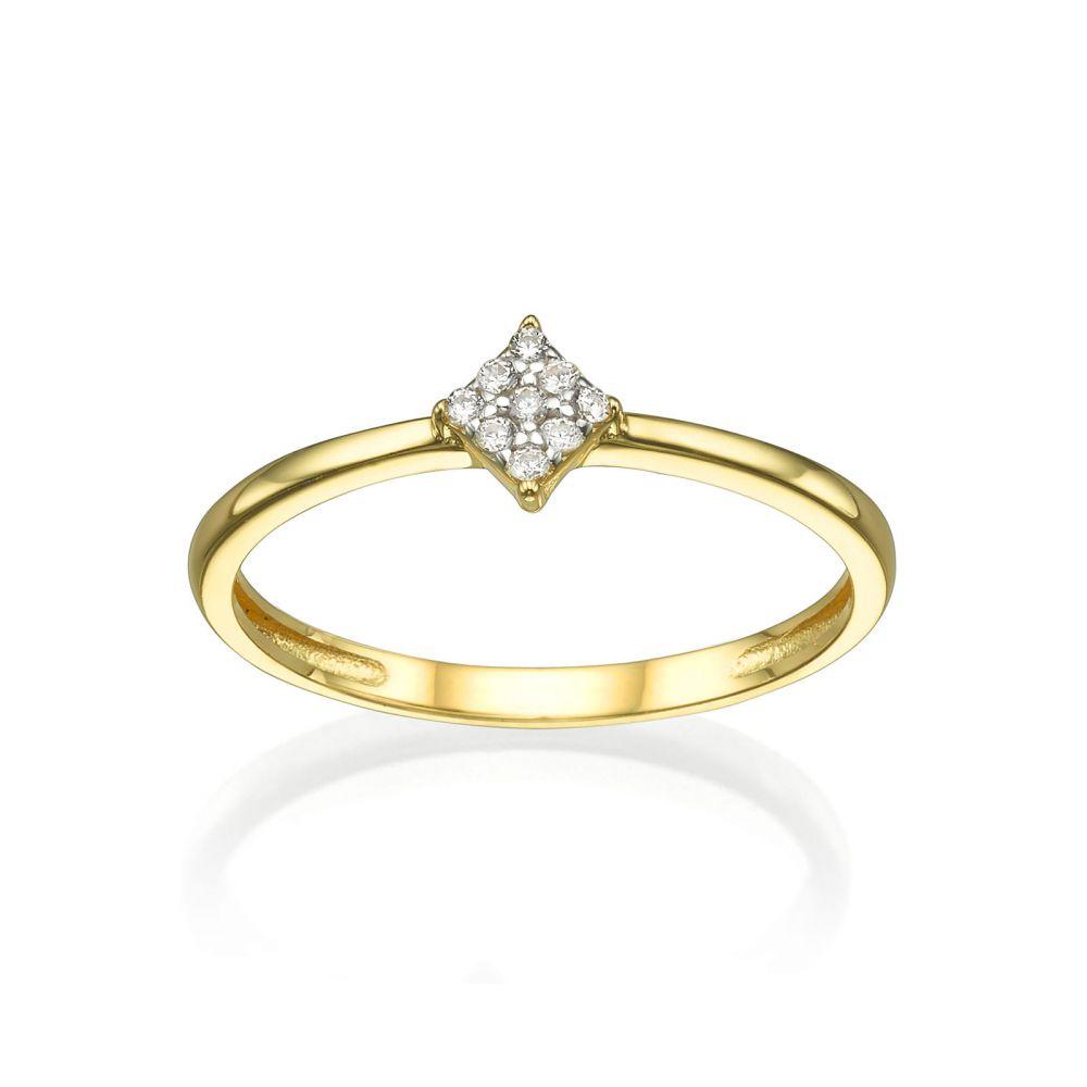 תכשיטי זהב לנשים | טבעת מזהב צהוב 14 קראט - מעוין נוצץ