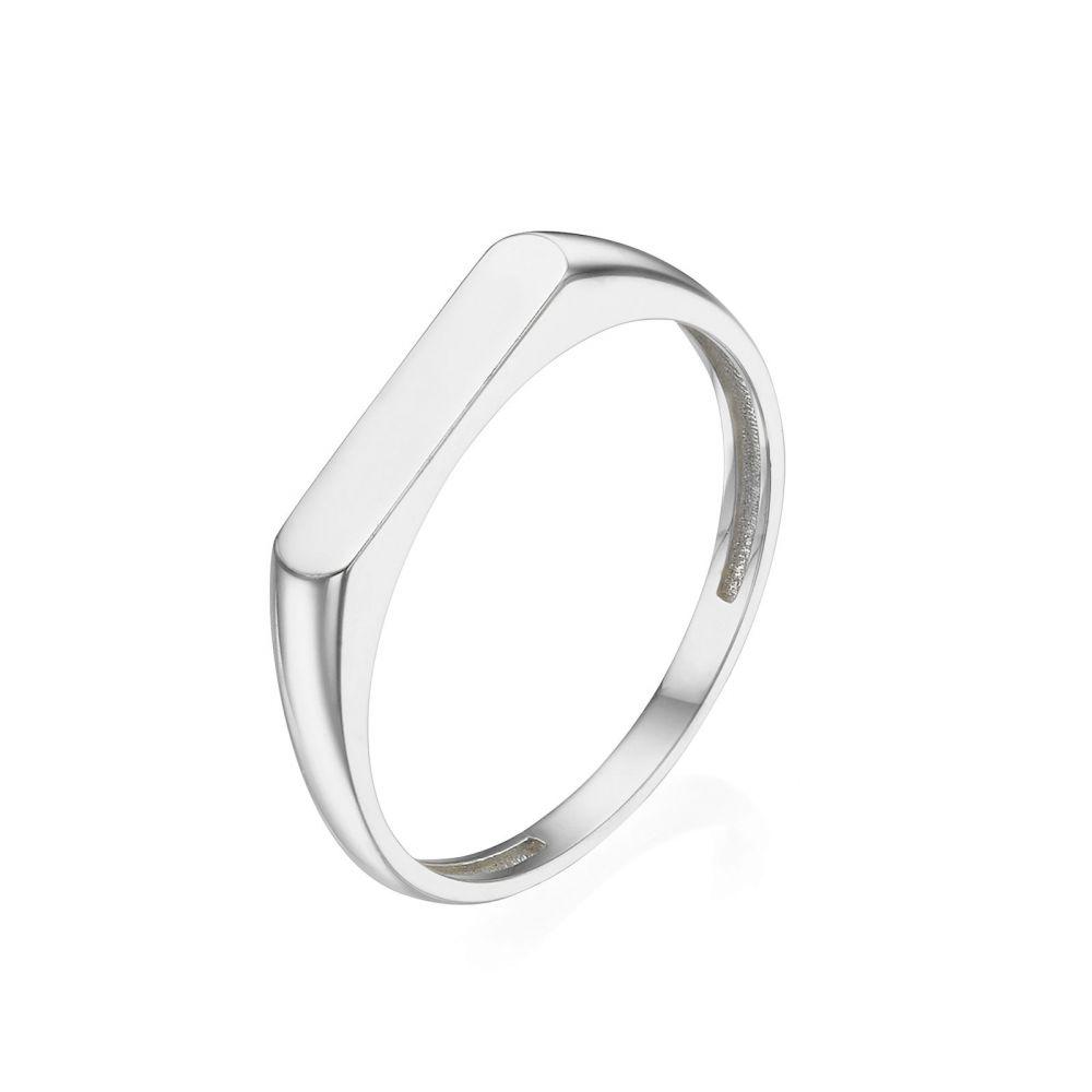 תכשיטי זהב לנשים | טבעת מזהב לבן 14 קראט - חותם