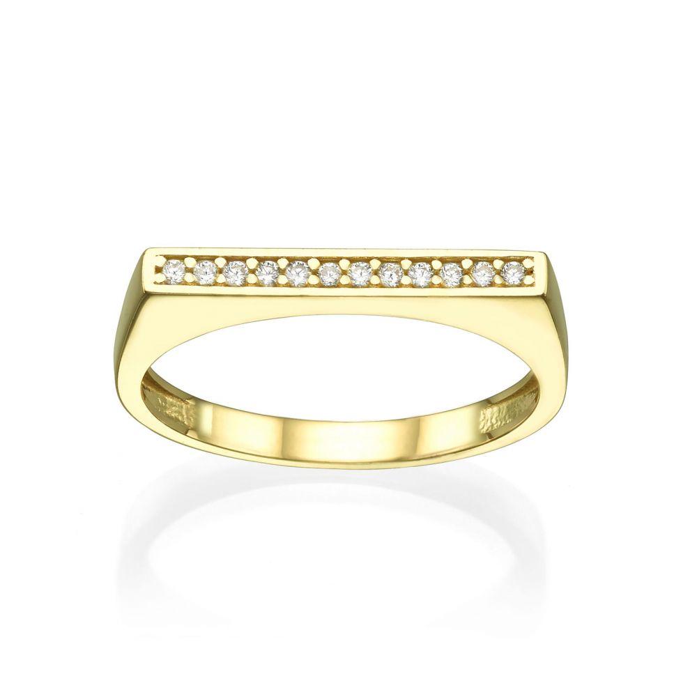 תכשיטי זהב לנשים | טבעת מזהב צהוב 14 קראט - פס זירקונים