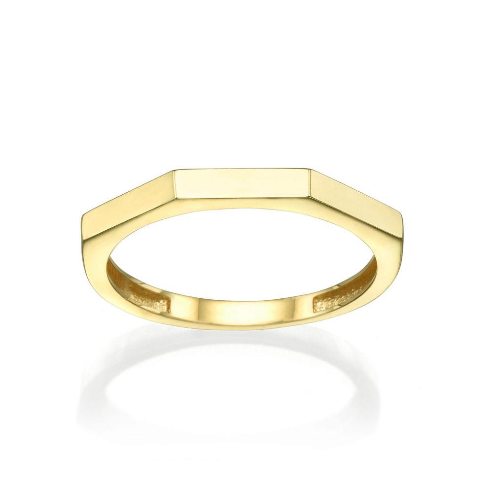 תכשיטי זהב לנשים | טבעת מזהב צהוב 14 קראט - גאומטרית