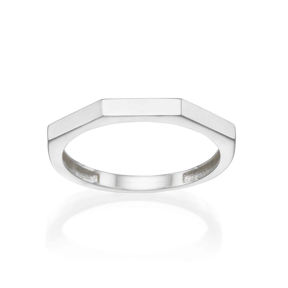 תכשיטי זהב לנשים | טבעת מזהב לבן 14 קראט - גאומטרית