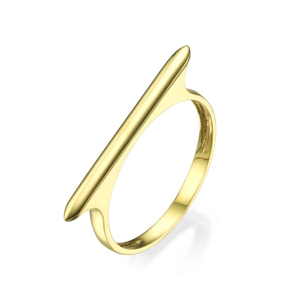 תכשיטי זהב לנשים | טבעת מזהב צהוב 14 קראט - פס