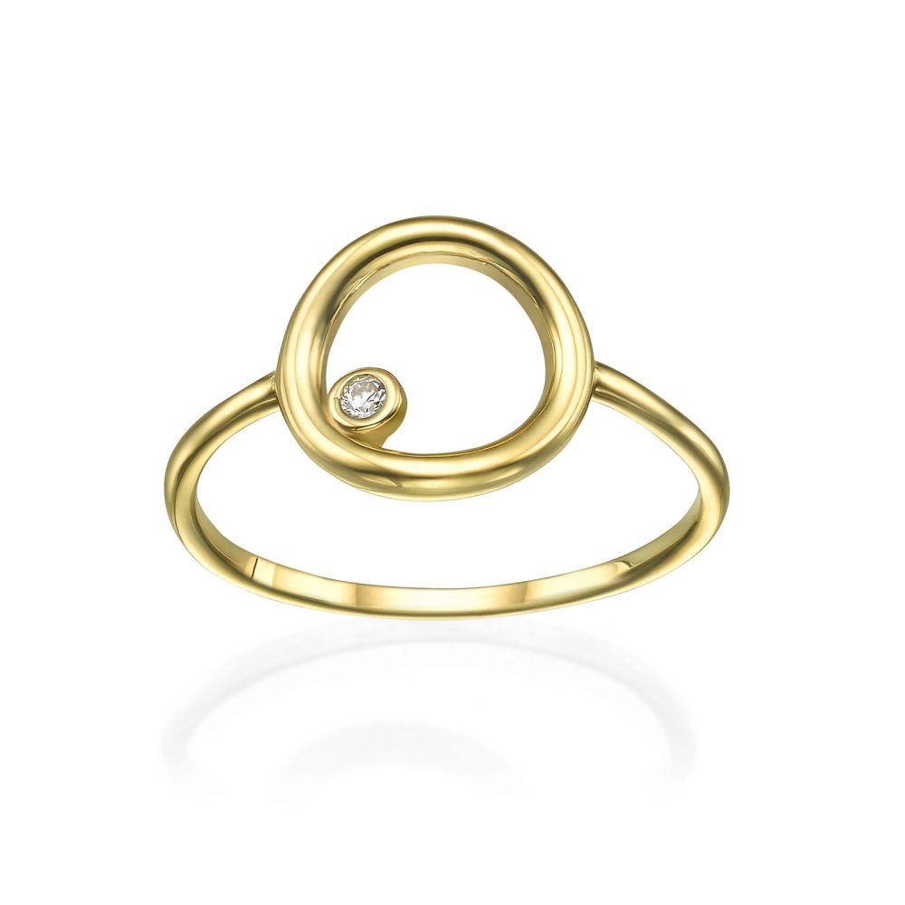 תכשיטי זהב לנשים | טבעת מזהב צהוב 14 קראט - עיגול וזירקון