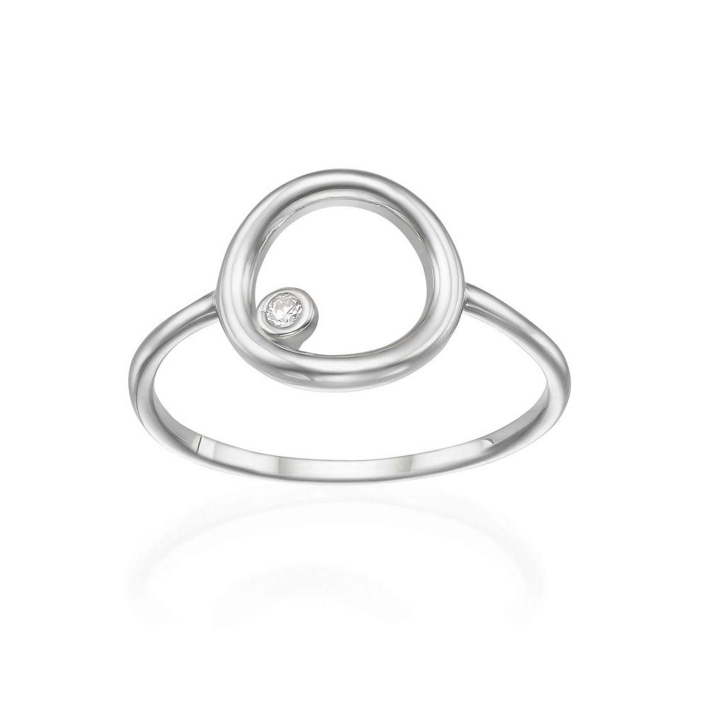 תכשיטי זהב לנשים | טבעת מזהב לבן 14 קראט - עיגול וזירקון