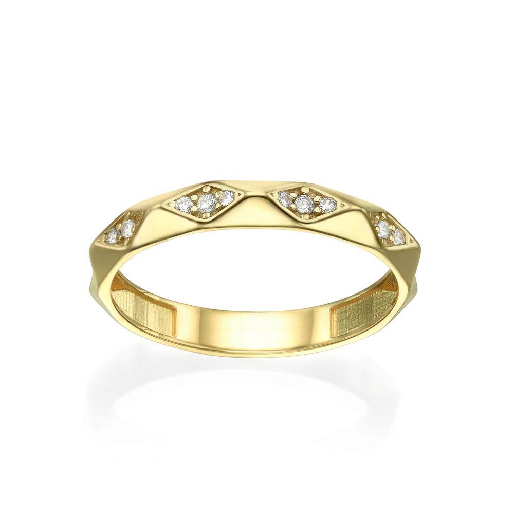 תכשיטי זהב לנשים | טבעת מזהב צהוב 14 קראט - פירמידות