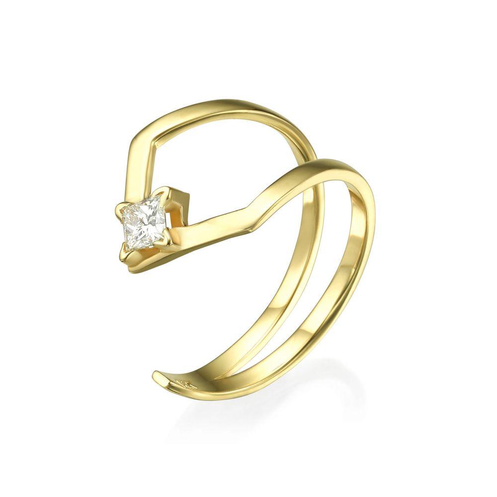 תכשיטי יהלומים | טבעת יהלום מזהב צהוב 14 קראט - האלי