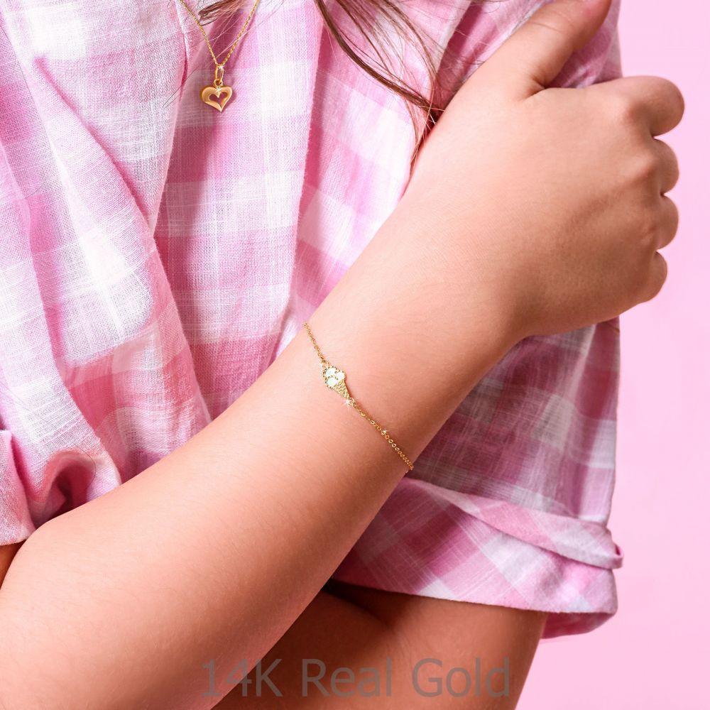 תכשיטים מזהב לילדות | צמיד לילדה מזהב צהוב 14 קראט - גלידה ורודה