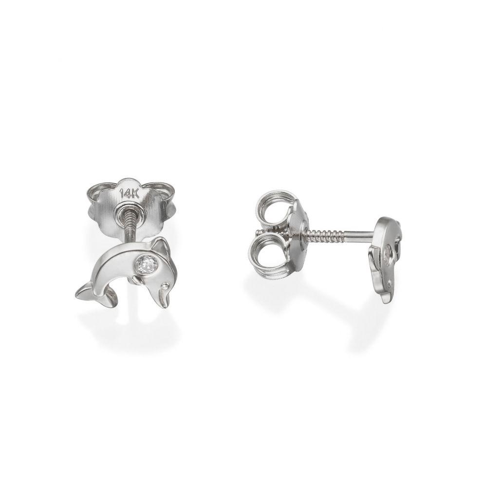 תכשיטים מזהב לילדות | עגילים צמודים מזהב לבן 14 קראט - דולפין מנצנץ
